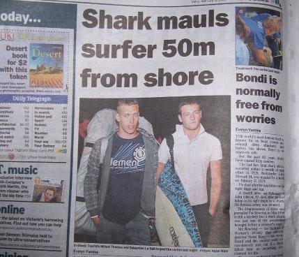 Mikaël Thomas et Sébastien Le Bail 2 surfeurs bretons ont fait la une des journaux en Australie après avoir sauvé le surfer Glenn Orgias d'une attaque de requin a Bondi Beach