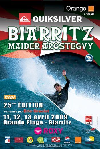 Affiche de la Biarritz Maïder Arosteguy 2009 avec le surfeur basque Aritz Aranburu.