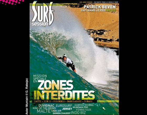 Un surfer avec un casque en couv' de Surf Session !