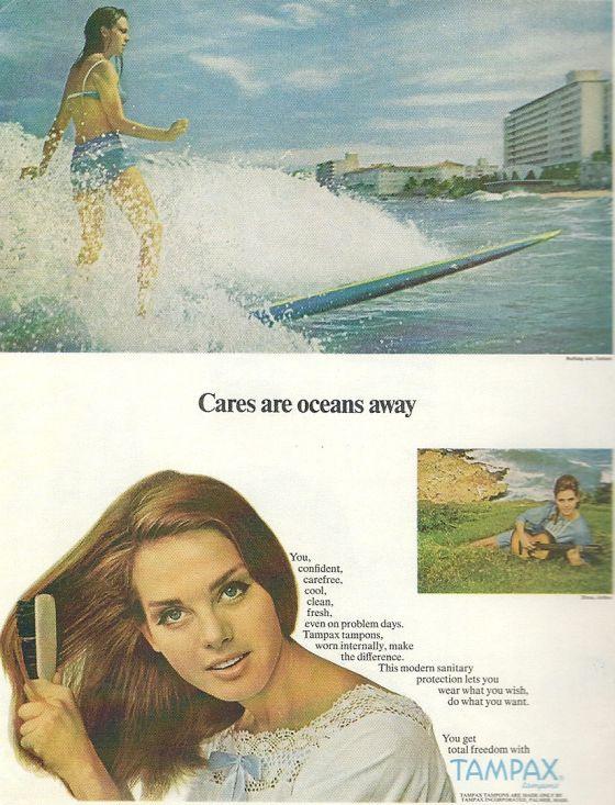 Publicité Tampons Tampax Surf 1936 Extraite du livre Surfing Pub de Gérard Decoster