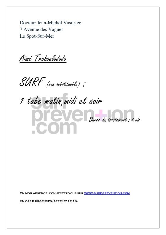 Le surf sur prescription m dicale surf prevention - Medicament coupe faim avec ordonnance ...