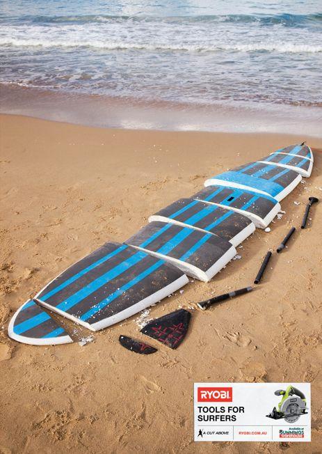 RYOBI planche de SUP stand up paddle et pagaie decoupee en plusieurs morceaux par les outils tools for surfers