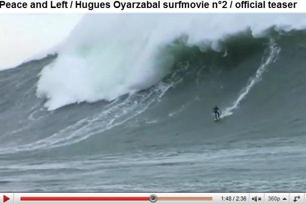 Le surfeur basque Hugues Oyarzabal alias Oyarzaboul sur une vague XXL a Belharra - extrait du film Peace and Left - sortie Mai 2010