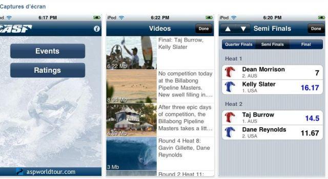 ASPtogo Application pour iPhone pour suivre les competitions de surf - captures d'ecran