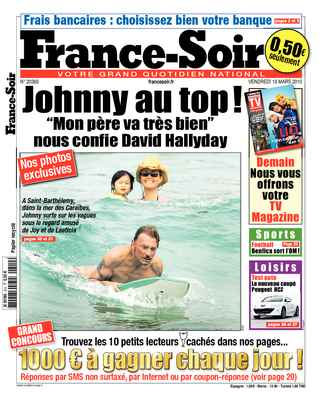Johnny Hallyday en bodyboard en couverture de France-Soir !