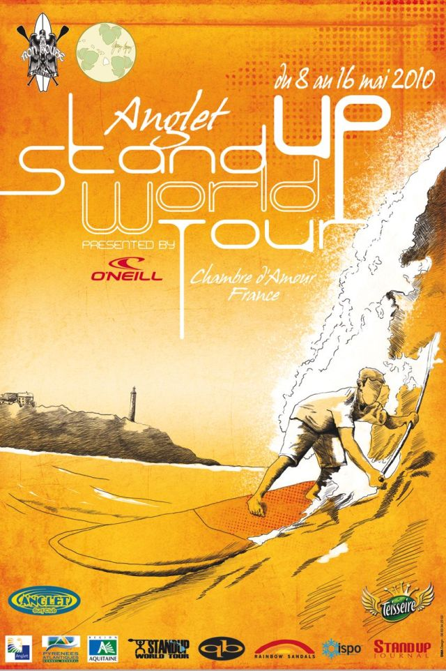 Affiche du Stand Up World Tour - championnat du monde de stand up paddle a Anglet - SUP WT 2010