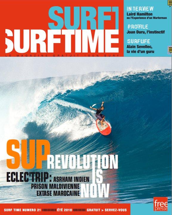 Peyo Lizarazu dans le tube a Sapinus - couverture Surf Time - SUP Revolution is now