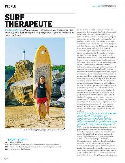 Article intitule Surf Therapeute sur le nouveau livre Surf Therapie de Guillaume Barucq dans le magazine Beach Brother Juillet Aout 2010
