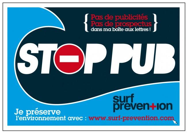 Autocollant Stop Pub Surf Prevention à coller sur votre boîte aux lettres !