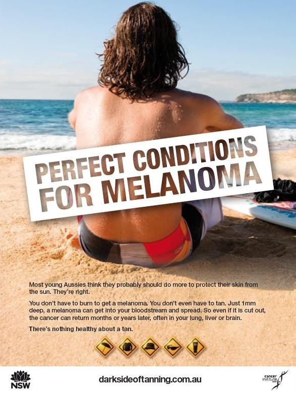 Prévention du mélanome sur une compétition de longboard en Australie