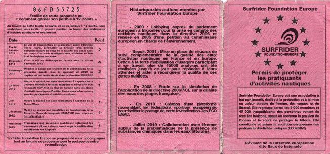 Le permis Surfrider pour la protection des pratiquants d'activités nautiques