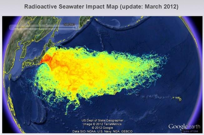 Carte de l'impact de la radioactivité sur l'océan après Fukushima