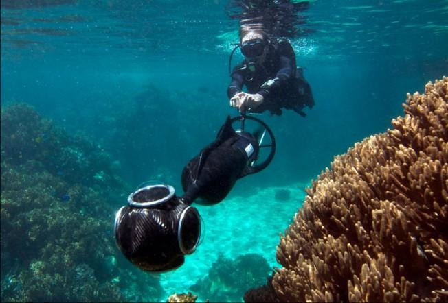 Google Sea View : la Grande Barrière de Corail derrière son ordinateur