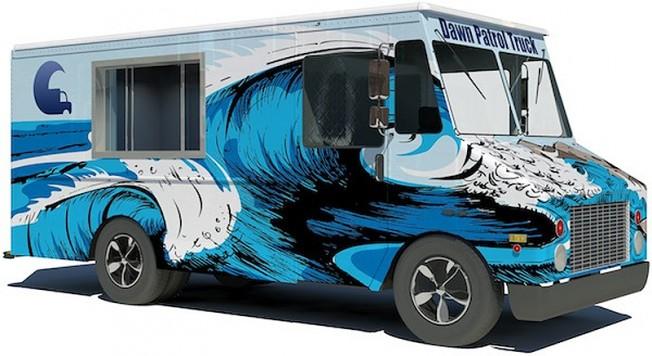Un Camion pour approvisionner les Surfeurs le Matin