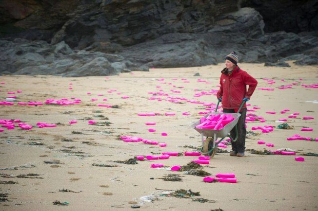 pollution plastique rose plage